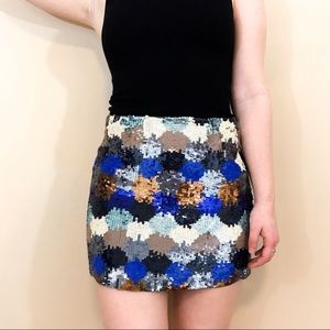 French Connection Multicolor Sequin Mini Skirt 6